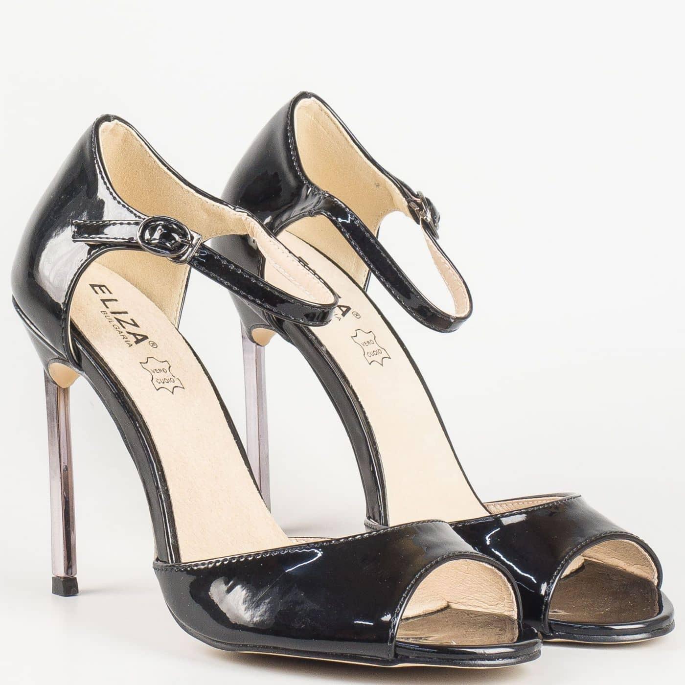 b4a70a00516 Лачени дамски сандали със стелка от естествена кожа на елегантен висок ток  в черен цвят- Eliza 1522801ch - Sisi-bg.com