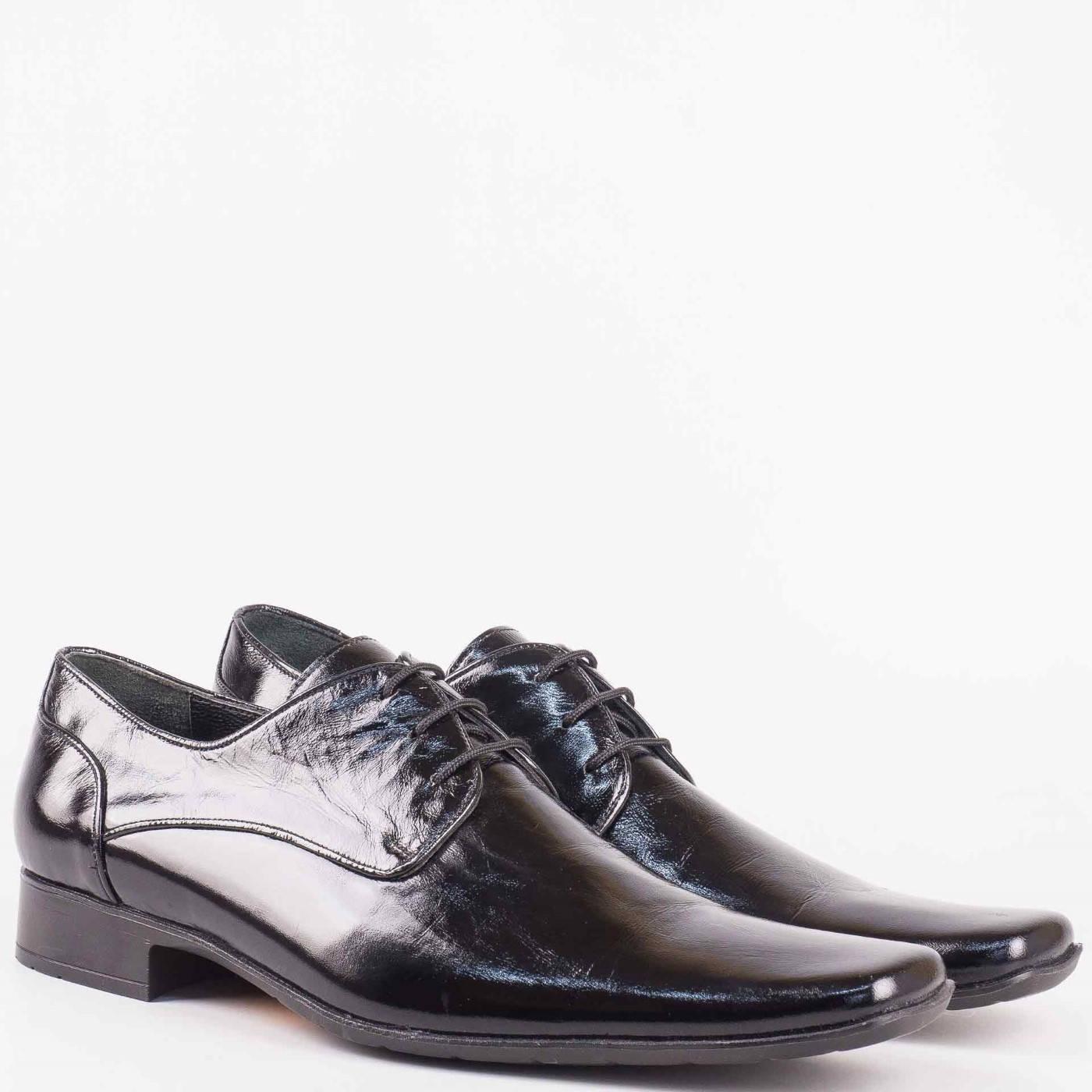 d32d6257a21 Официални мъжки обувки с връзки в черен естествен лак от утвърден български  производител 1553lch - Sisi-bg.com