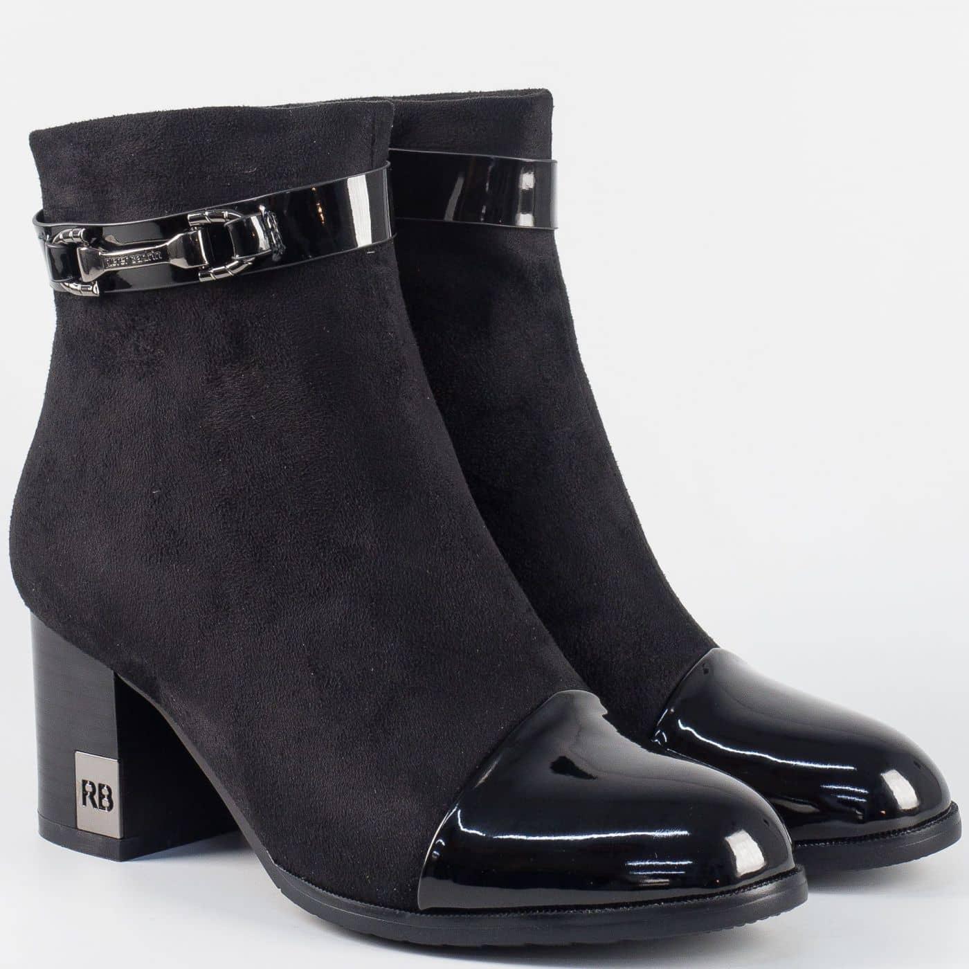 378a18e7dad Дамски елегантни боти в черен цвят- Eliza на висок ток 2401803ch - Sisi -bg.com