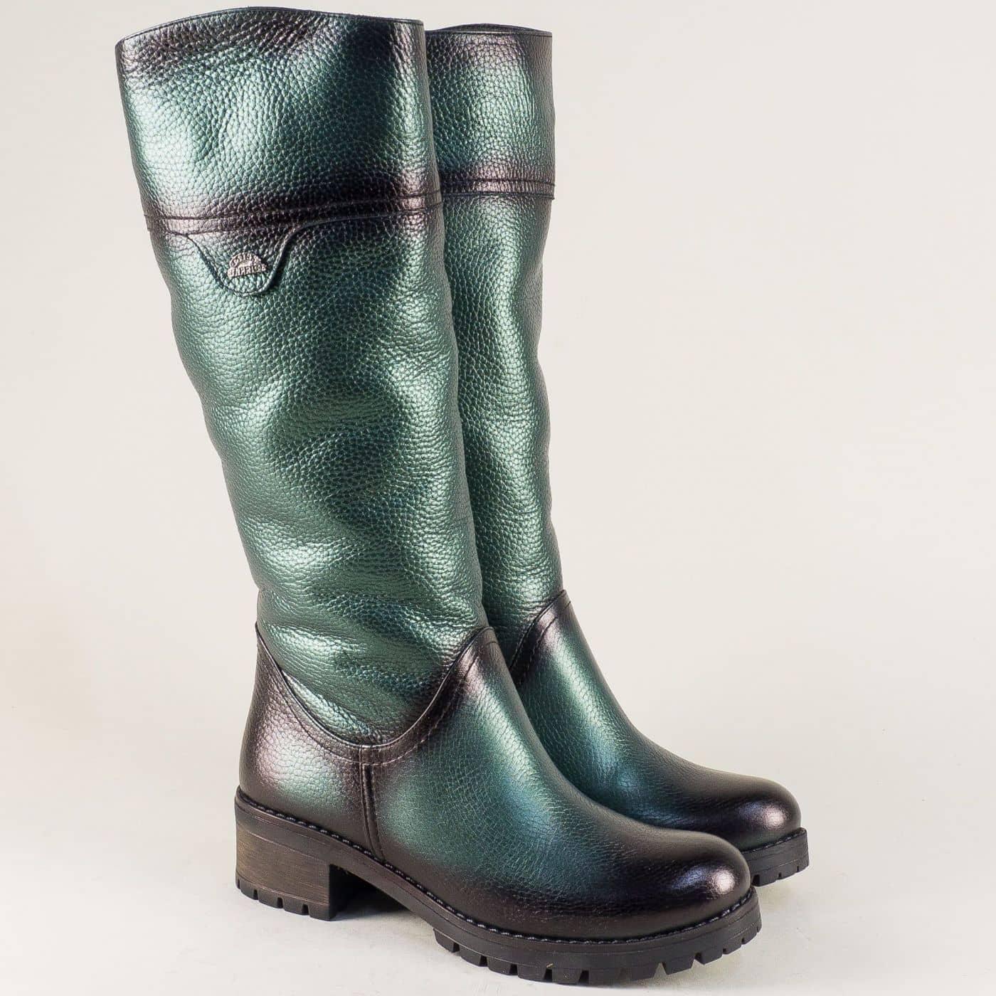 2f9c8b7f625 Промо Зелени дамски ботуши на нисък ток от естествена кожа 26501z