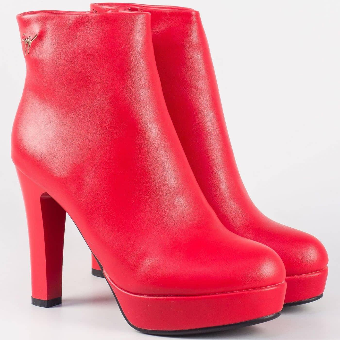 14972627e50 Атрактивни дамски боти на висок ток- Eliza в ярко червен цвят 2919chv - Sisi -bg.com