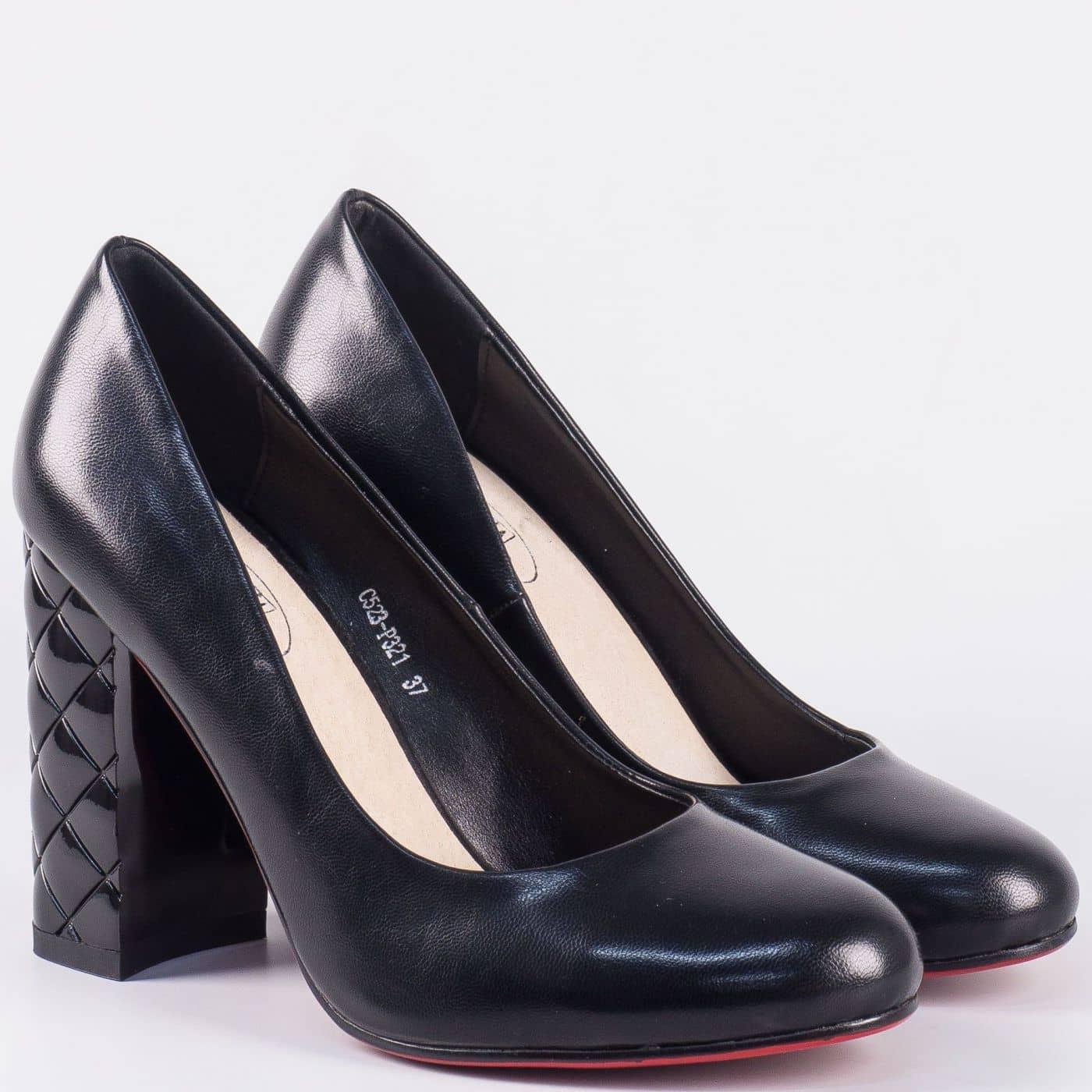 9f6af146607 Актуални дамски обувки на ефектен висок ток- Eliza в черен цвят 523321ch -  Sisi-bg.com