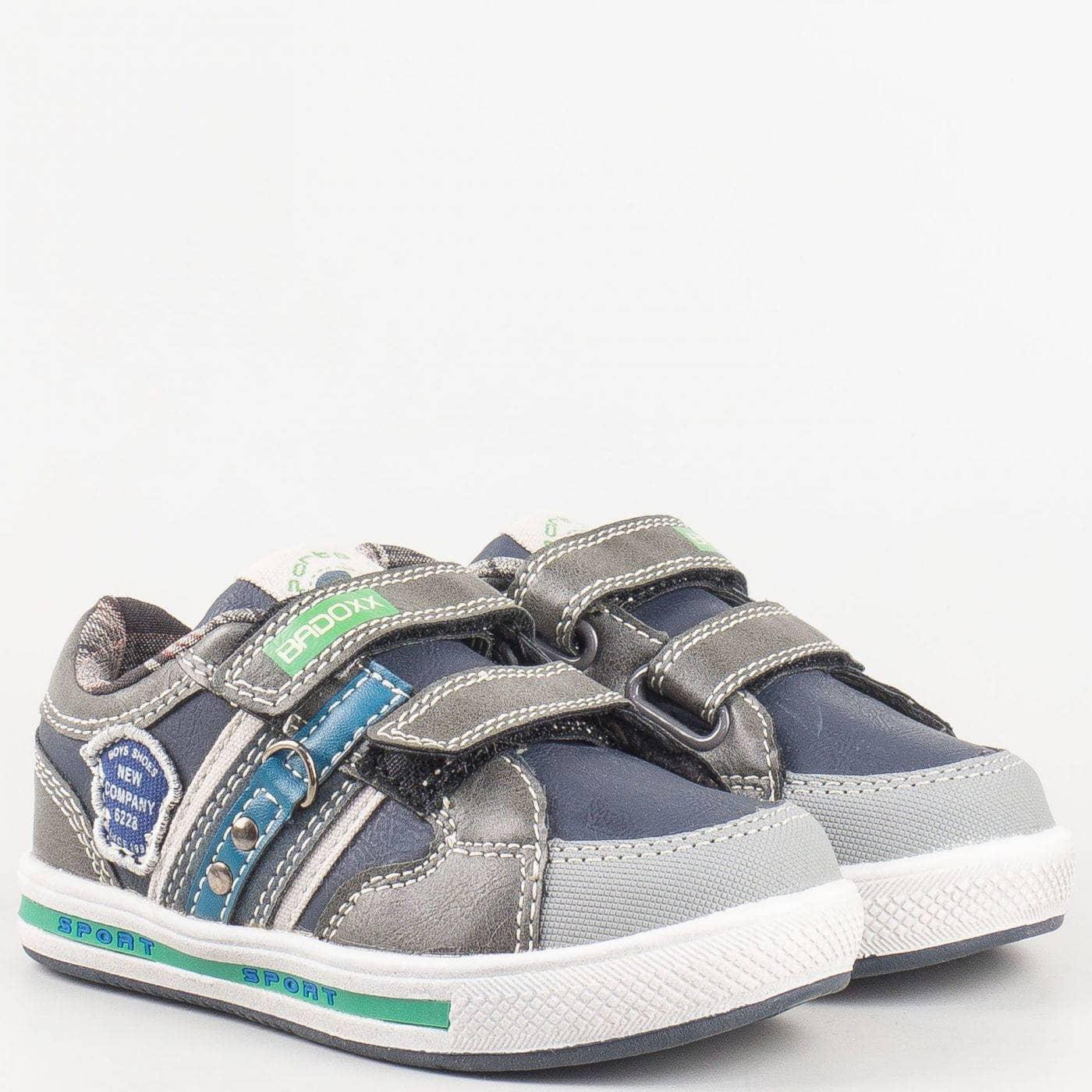 ca9e14139ca Детски български спортни обувки с две велкро лепенки в сиво и синьо 6274s -  Sisi-bg.com