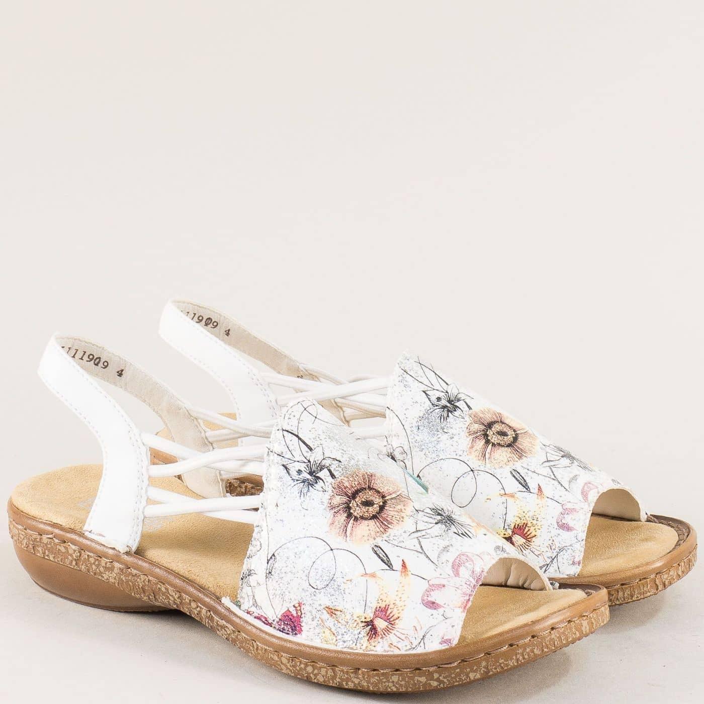 d137d23ea3f Бели дамски сандали с флорален принт и ластик- Rieker 6281bps - Sisi-bg.com