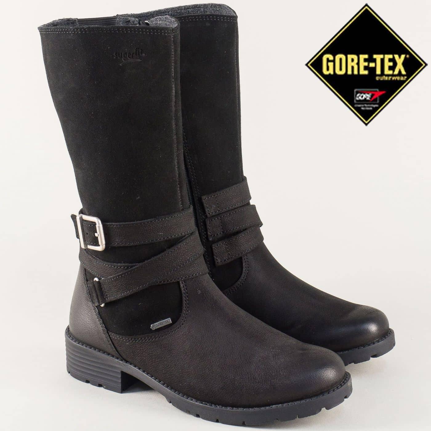 6f98c3ce259 Юношески дамски ботуши от естествен велур и кожа в черен цвят 700186-40ch -  Zebra 1992