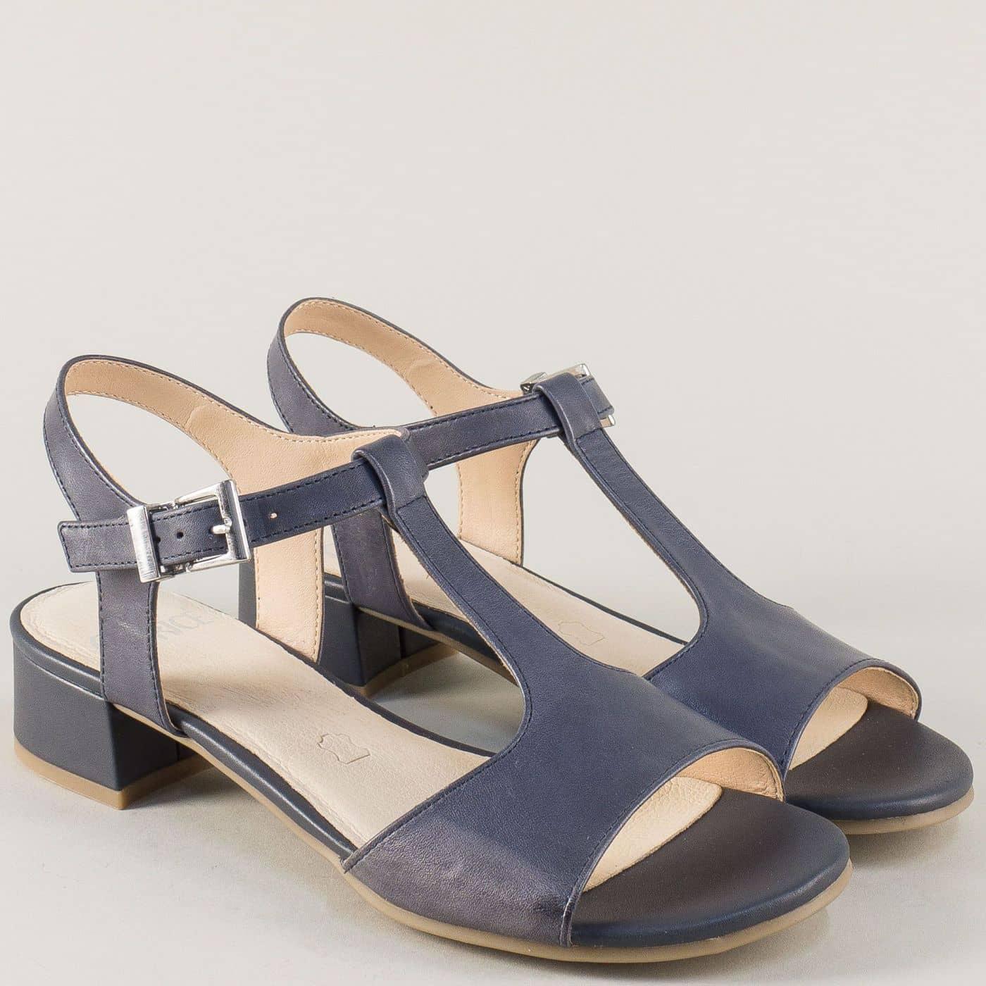 6d99c5c48a4 Дамски сандали на нисък ток от синя естествена кожа 9928205s - Sisi-bg.com