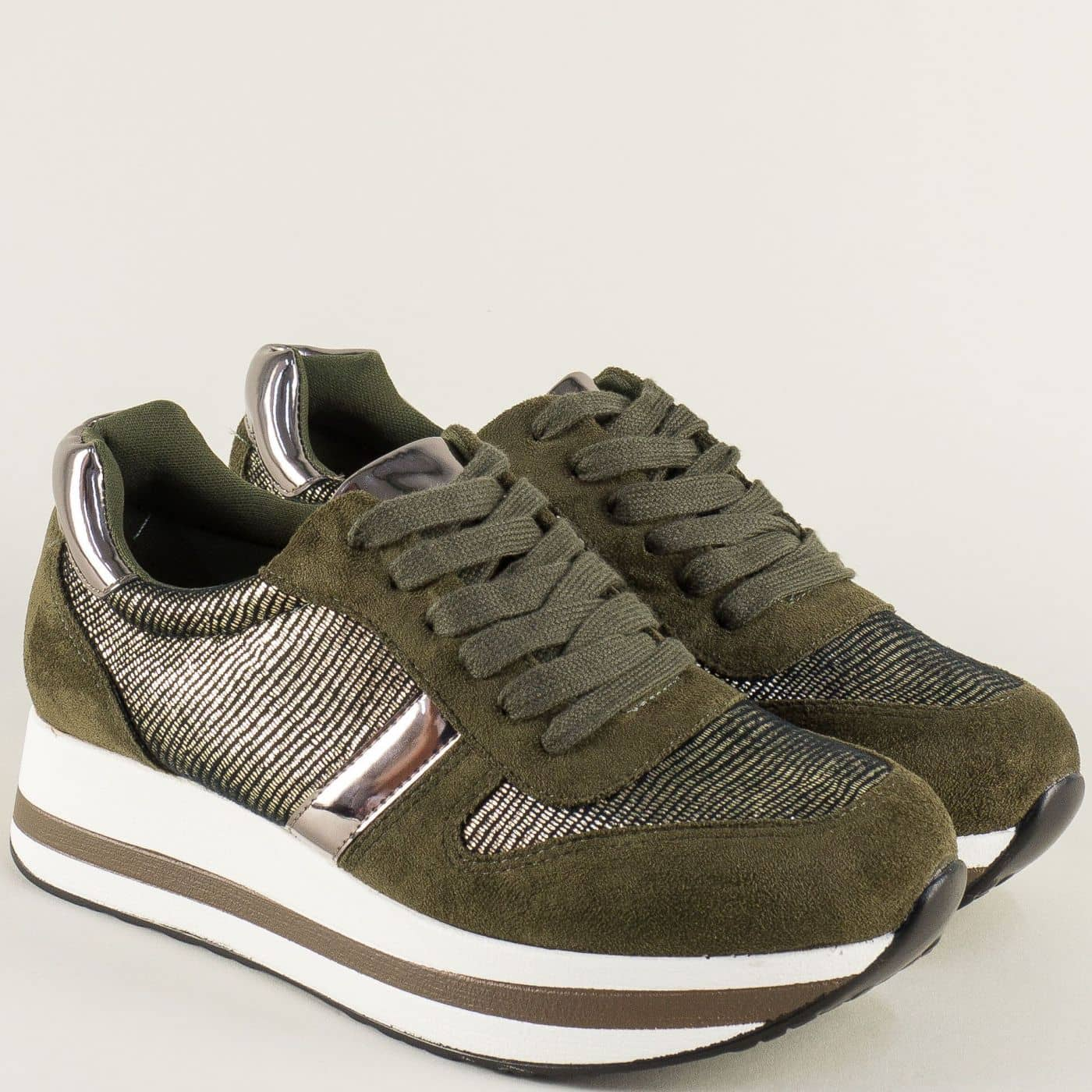 806e01a9649 Спортни дамски обувки в зелен цвят на платформа hbs05z - Sisi-bg.com