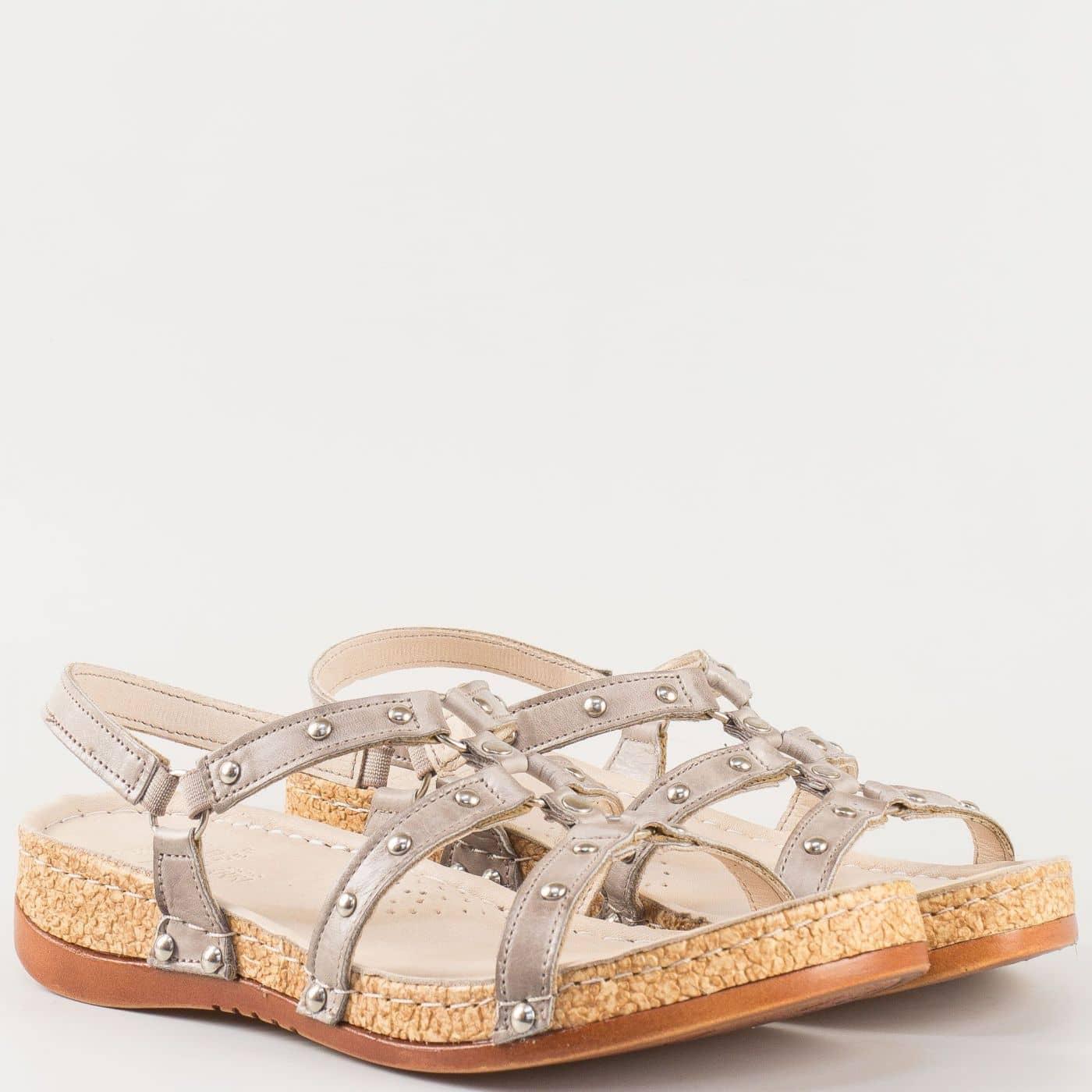 1d3f5fe16fe Дамски удобни сандали на комфортно ходило изработени от 100% естествена  кожа в сив цвят k213sv - Zebra 1992