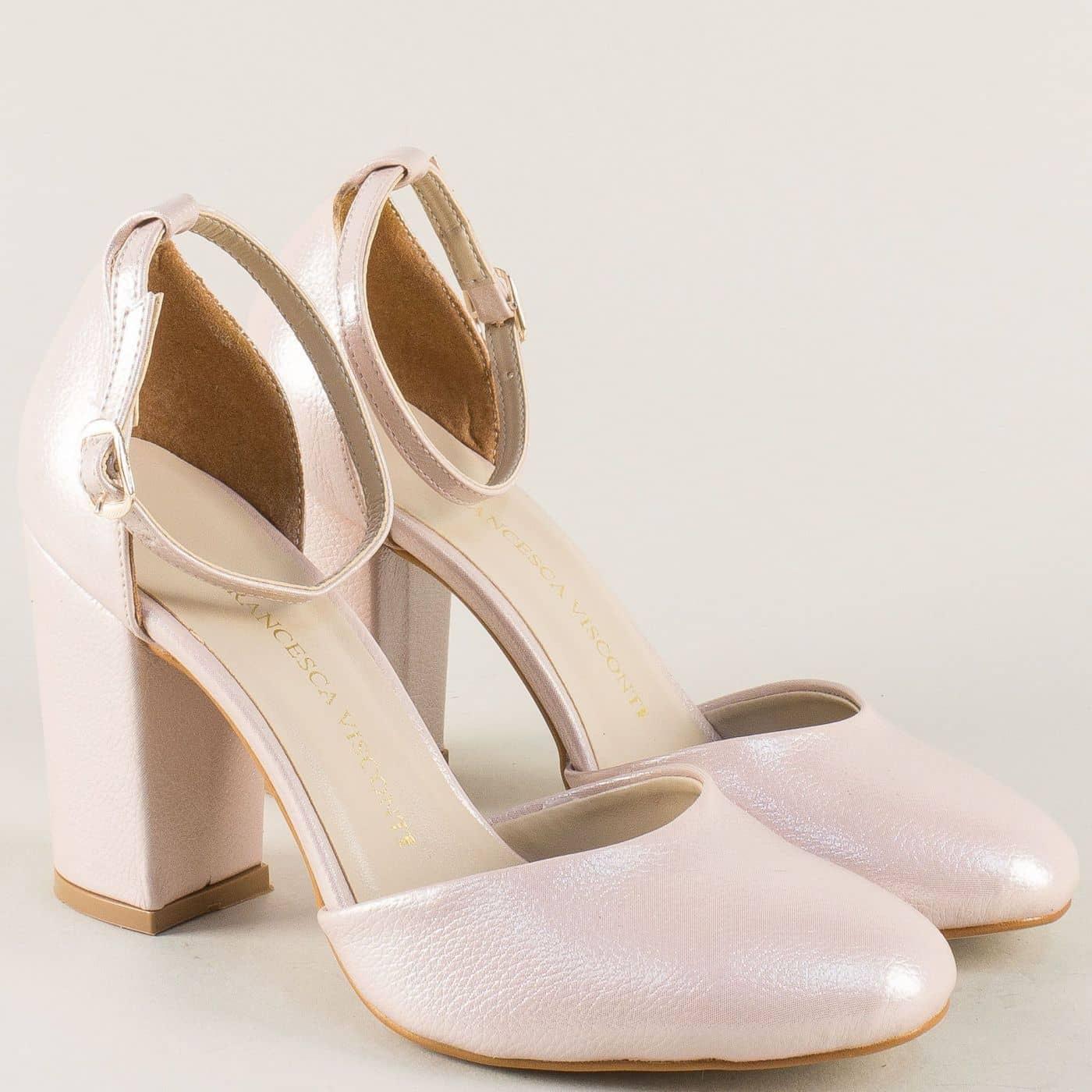 12baa6c4c3a Розови дамски сандали на висок ток с перлен блясък ma596rz - Sisi-bg.com