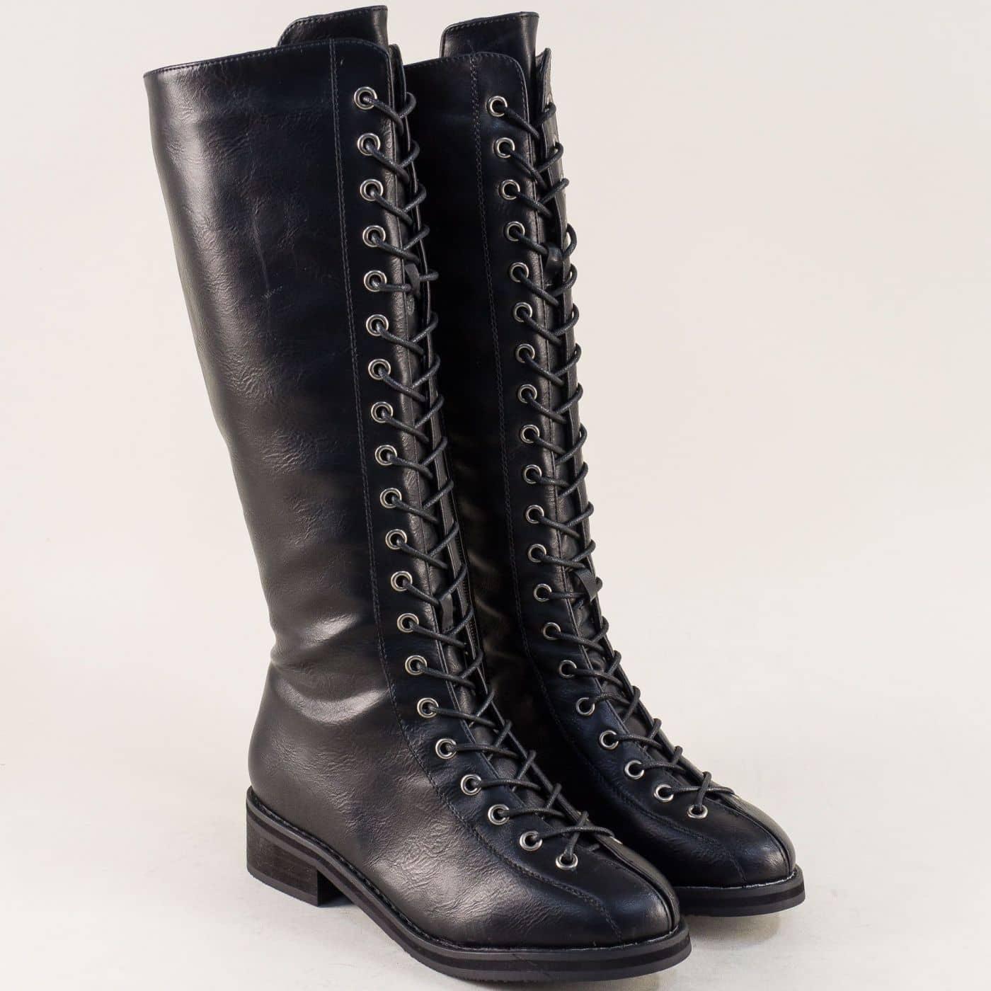944386bb9e2 Черни дамски ботуши на комфортно ходило с цип и връзки mx50ch - Zebra 1992