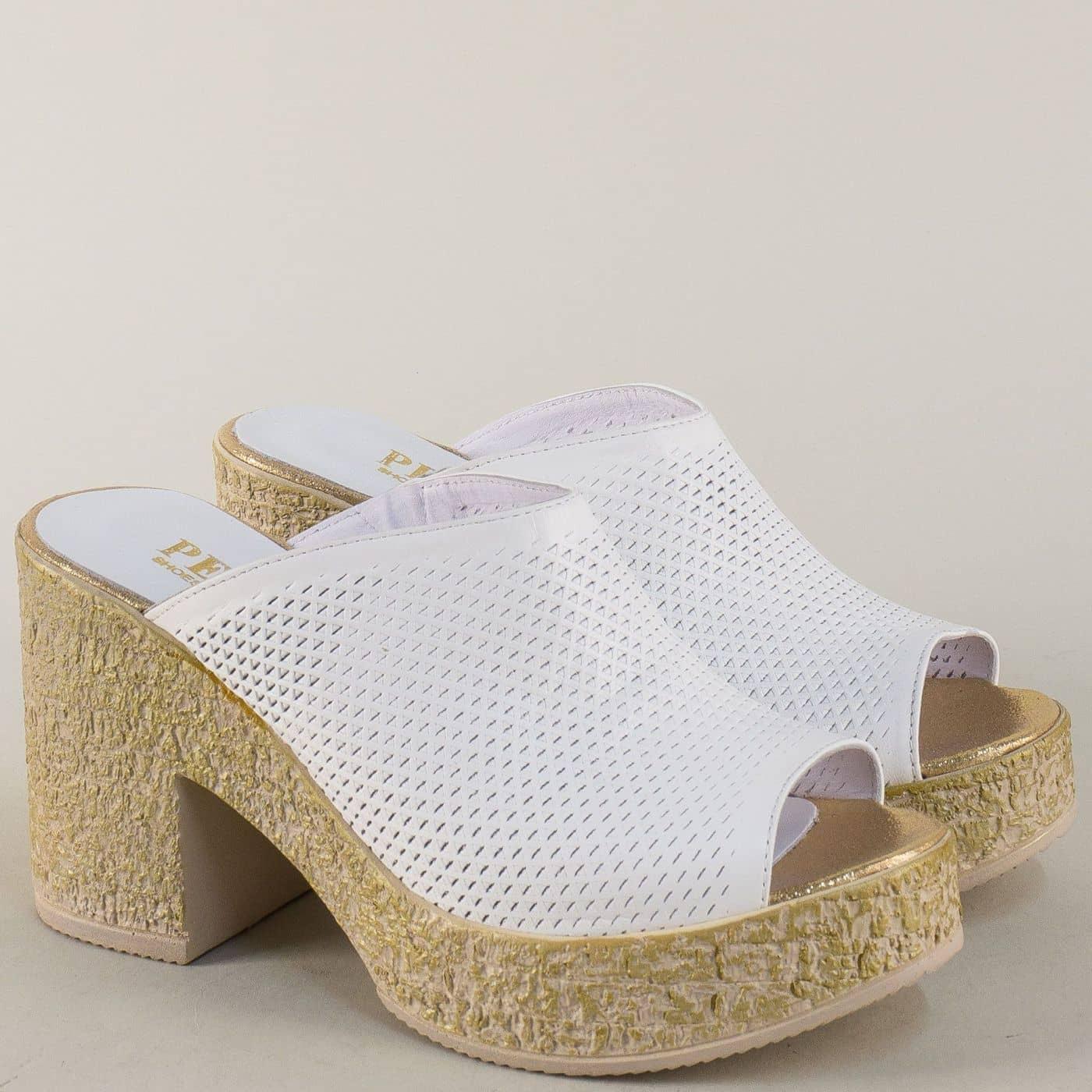 5ce18339a4d Бели дамски чехли от естествена кожа на комфортна платформа с ток n45b -  Zebra 1992