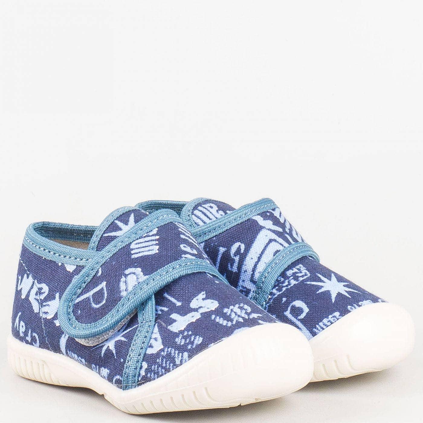 12aad51204e Текстилни детски пантофи с велкро лепенка в син или бежов цвят на водещ  български производител pf9-30 - Sisi-bg.com