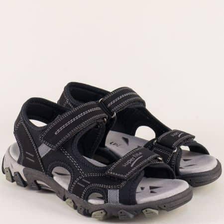 Юношески сандали в черен цвят с две лепки- Super Fit  000446ch