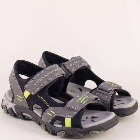 Немски юношески сандали в сив цвят с две лепки 000446sv