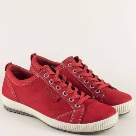 Немски дамски обувки от естествен набук в червен цвят 000823chv