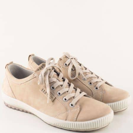 Бежови дамски обувки от естествен набук- Legero 000823nbj