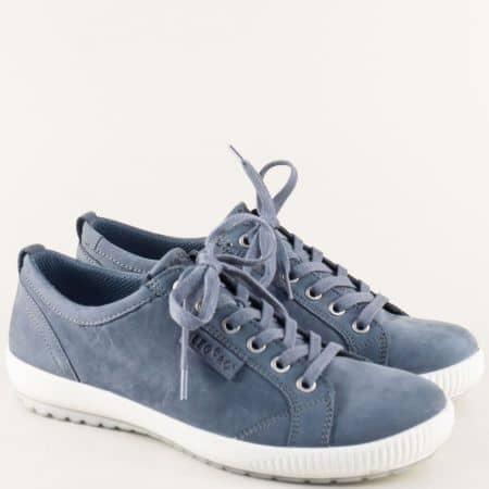 Дамски обувки с връзки от естествен набук в син цвят 000823ns