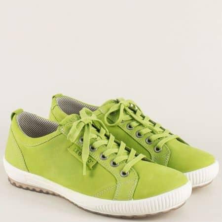 Зелени дамски обувки с връзки от естествен набук- Legero  000823z