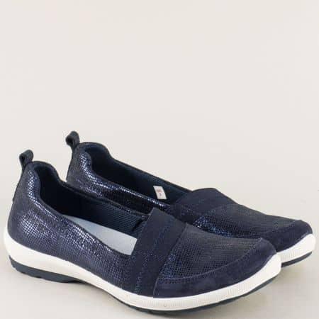 Анатомични дамски обувки в син цвят с кожена стелка 000874s