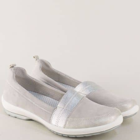 Сиви дамски обувки от естествена кожа на равно ходило 000874sv