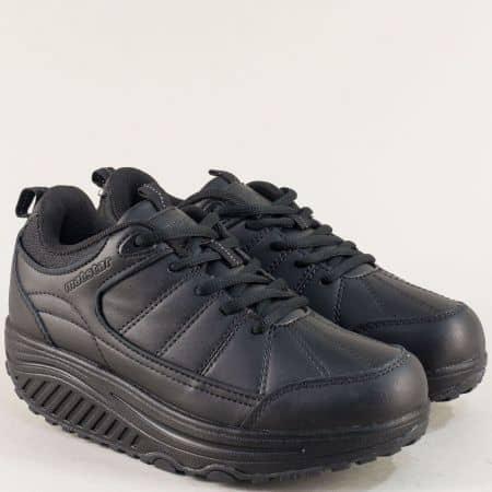 Дамски обувки на платформа в черен цвят- MAT STAR 002270-40ch