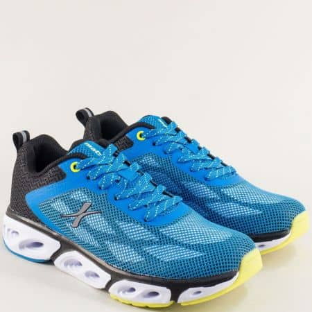 Дамски маратонки в синьо, жълто, бяло и черно- MAT STAR 002298-40ss
