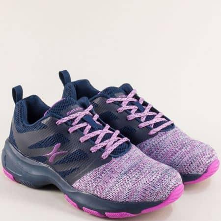 Дамски маратонки в розово, лилаво и тъмно синьо- MAT STAR 002301l