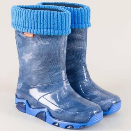Равни детски ботуши с топъл хастар в син цвят 0033-35s