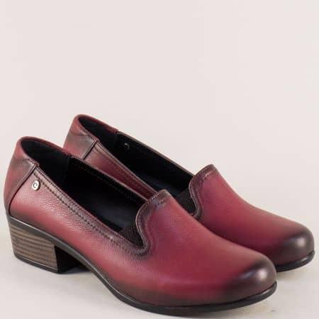 Кожени дамски обувки в цвят бордо на нисък ток 003510bd