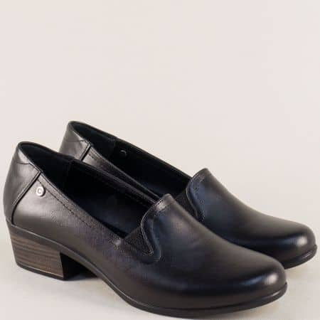 Черни дамски обувки от естествена кожа на нисък ток 003510ch