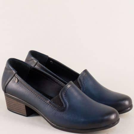 Сини дамски обувки от естествена кожа на нисък ток 003510s