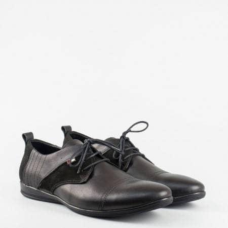 Ежедневна мъжка обувка в черен цвят от набук и кожа 00426ch