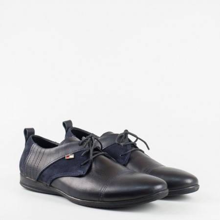 Ежедневни мъжки обувки от естествена кожа и набук в тъмно син цвят 00426s