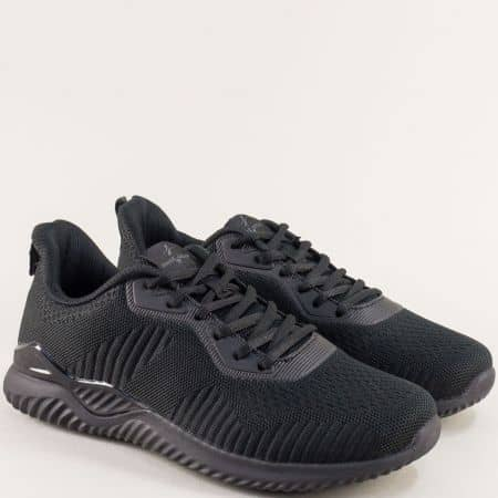 Мъжки маратонки в черен цвят на равно ходило - MAT STAR 006018ch