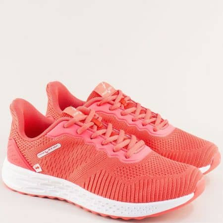 Оранжеви дамски маратонки на бяло ходило- MAT STAR 006019o