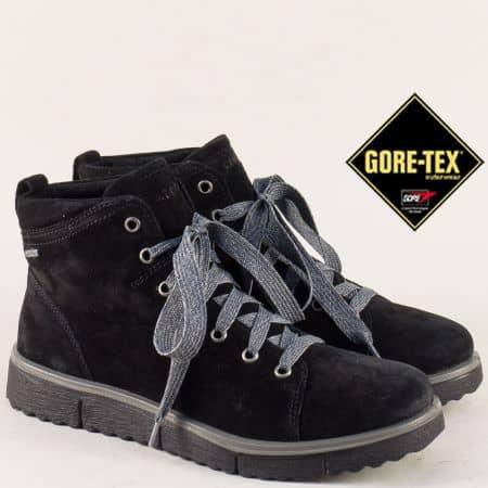 Черни дамски боти Legero от естествен велур на равно и комфортно ходило 0065003vch