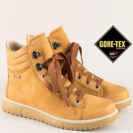 Бежови дамски боти от естествен набук с Gore-Tex  0065320nbj