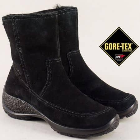 Велурени дамски боти в черно на стабилно ходило- Legero 0067800vch