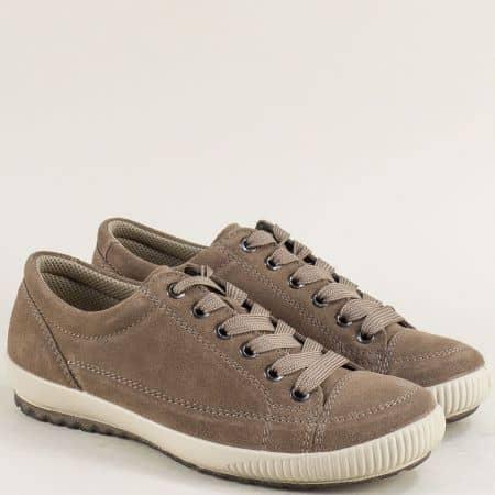 Австрийски дамски обувки от естествен материал в кафяво 00820vk
