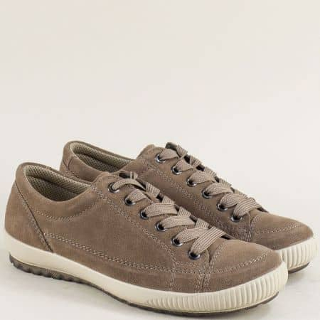 Кафяви дамски обувки от естествен велур- Legero 00820vk