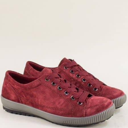 Велурени дамски обувки с кожена стелка в бордо- Legero 00820vbd