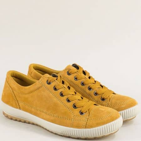 Велурени дамски обувки с кожена стелка в жълто- Legero 00820vj