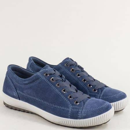 Велурени дамски обувки в синьо с кожена стелка- LEGERO 00820vs