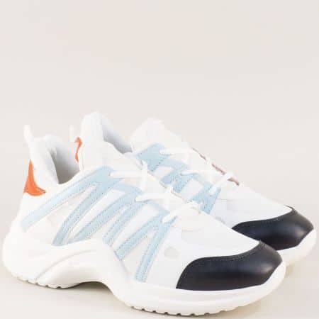 Спортни дамски обувки с връзки в синьо и бяло 010-40bs