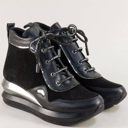 Черни дамски боти от естествен набук и кожа на платформа 0105768nch