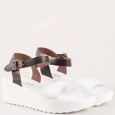 Дамски фешън сандали на платформа от естествена кожа в кафяво и бяло  0105b