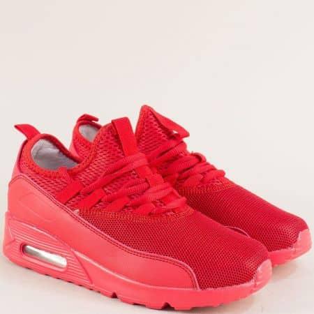 Дамски спортни обувки в червен цвят с връзки 0106-40chv