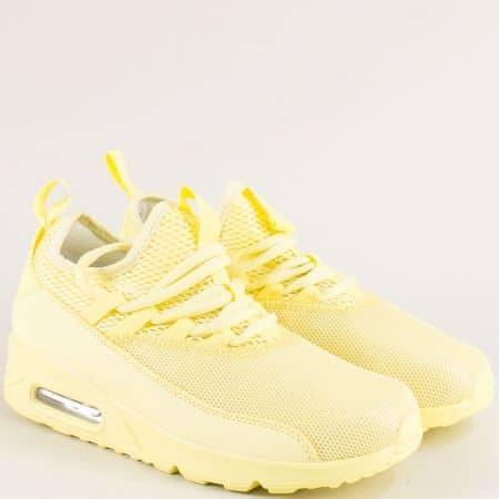 Жълти дамски маратонки с вградена въздушна камера 0106-40j
