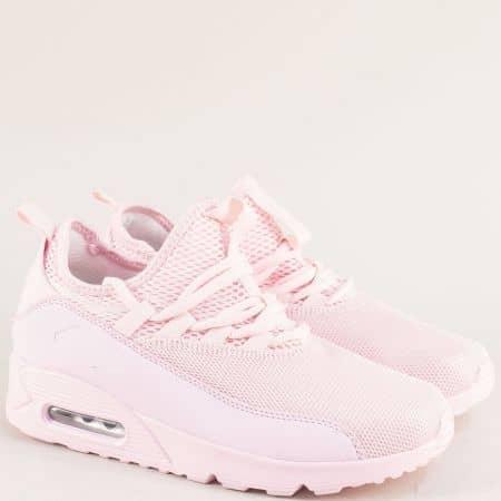 Розови дамски маратонки с връзки и удобно ходило 0106-40rz