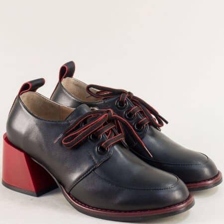 Черни дамски обувки на среден ток в червен цвят 010779ch